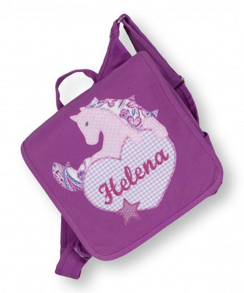 Kindergartentasche lila Helena Pferd