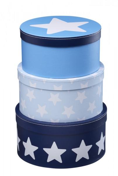 Pappboxen 3er Set rund blau