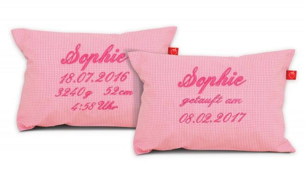 La Fraise Rouge - Namenskissen zur Geburt oder Taufe rosa