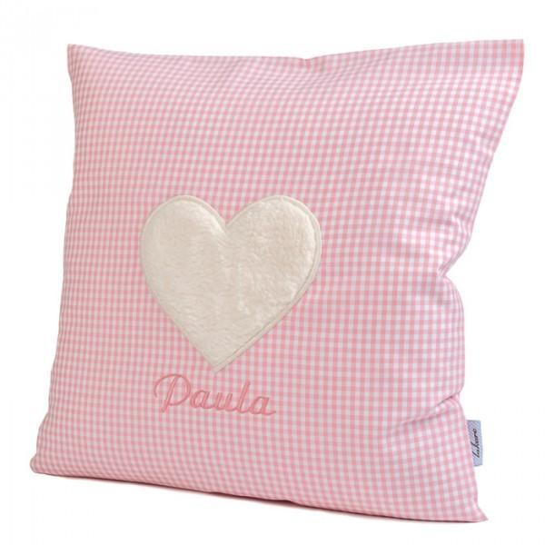 lakaro - Kissen rosa Herz mit Namen